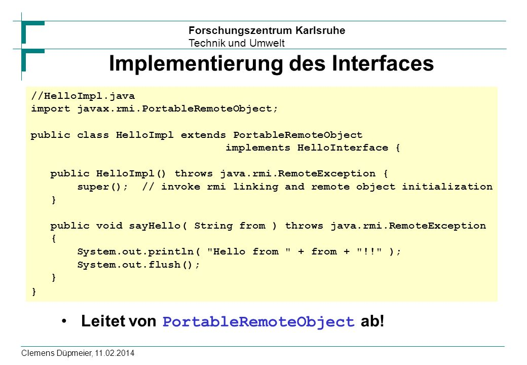Implementierung des Interfaces