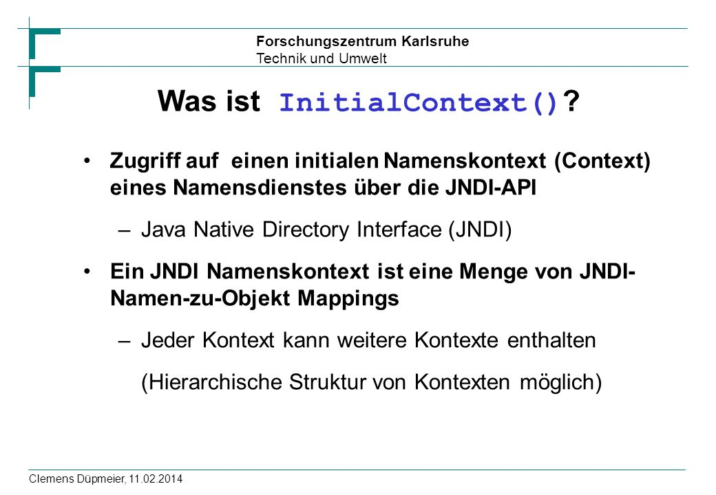 Was ist InitialContext()