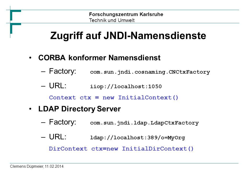 Zugriff auf JNDI-Namensdienste