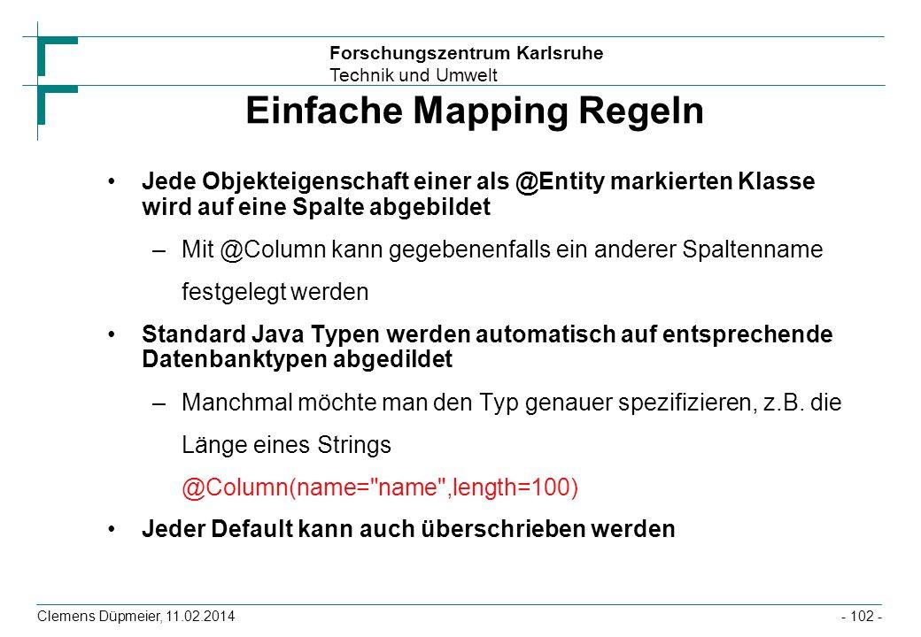 Einfache Mapping Regeln