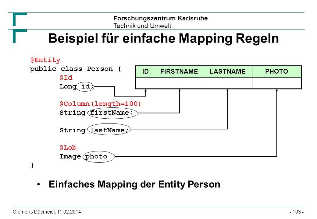 Beispiel für einfache Mapping Regeln