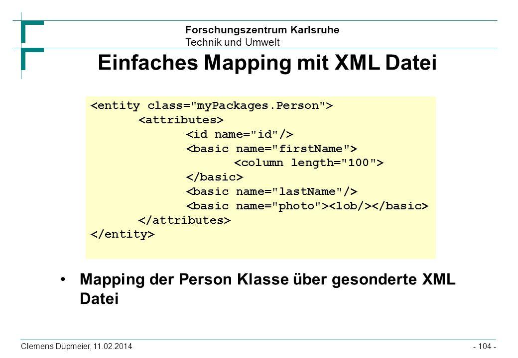 Einfaches Mapping mit XML Datei