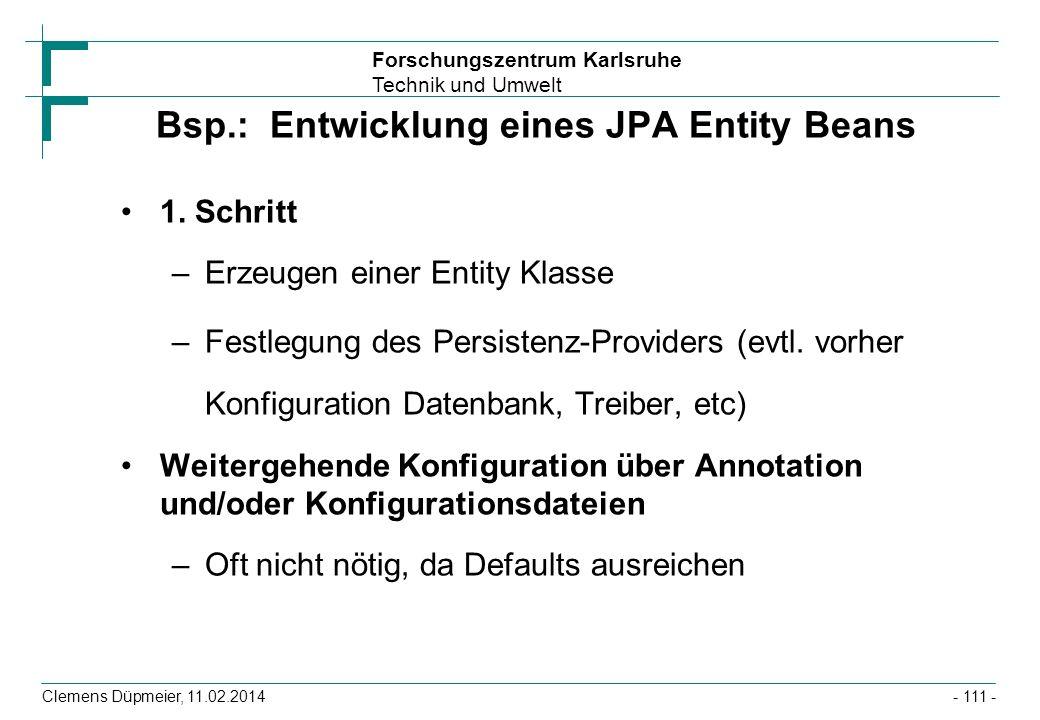 Bsp.: Entwicklung eines JPA Entity Beans