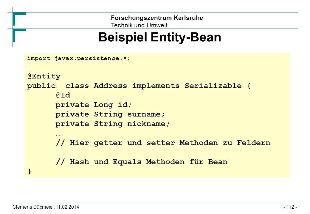 Beispiel Entity-Bean @Entity