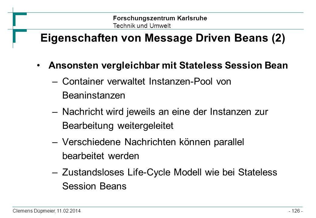 Eigenschaften von Message Driven Beans (2)