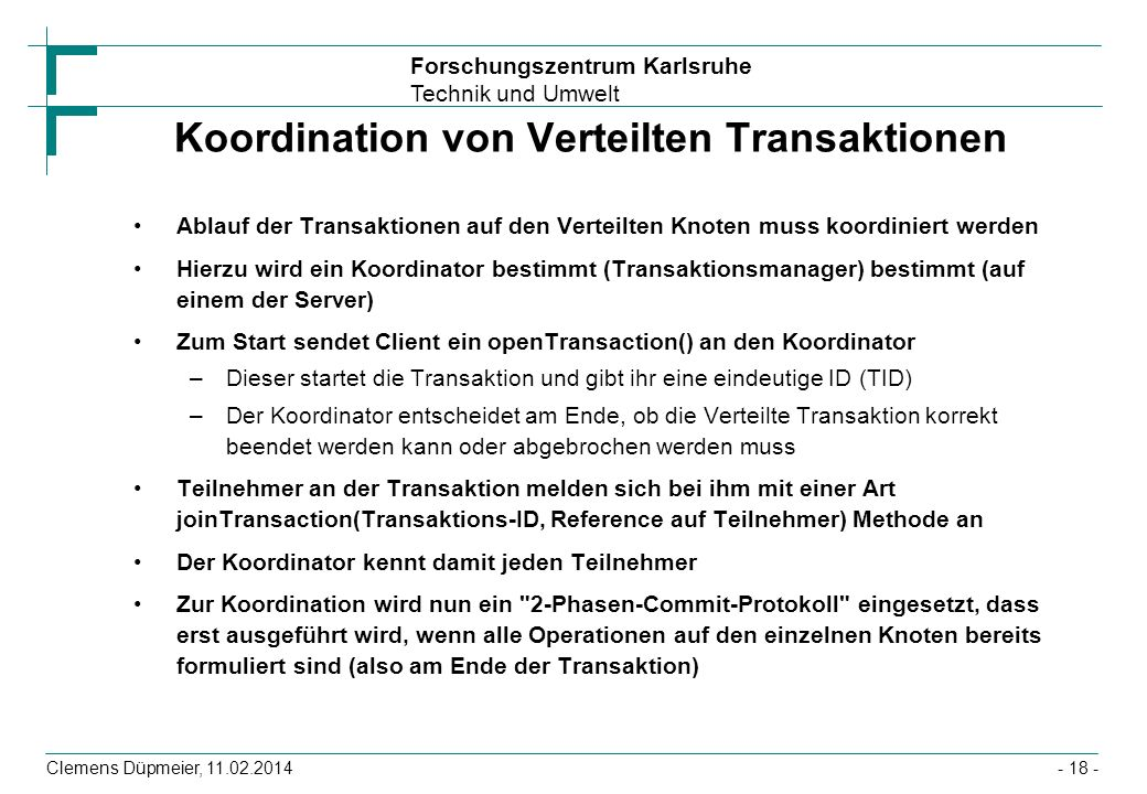 Koordination von Verteilten Transaktionen