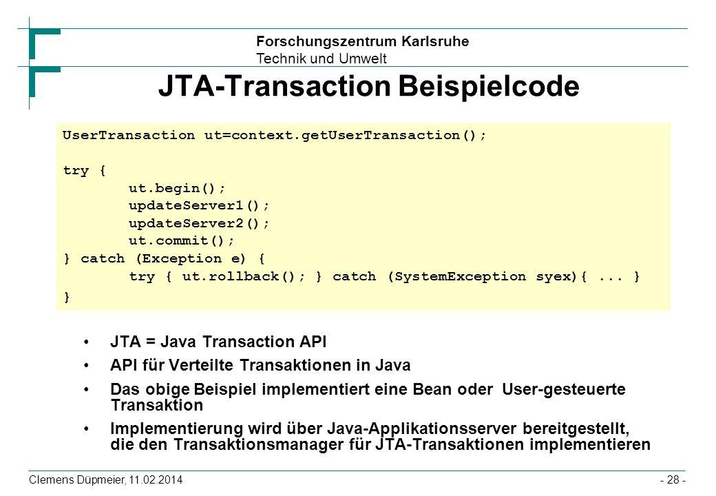 JTA-Transaction Beispielcode