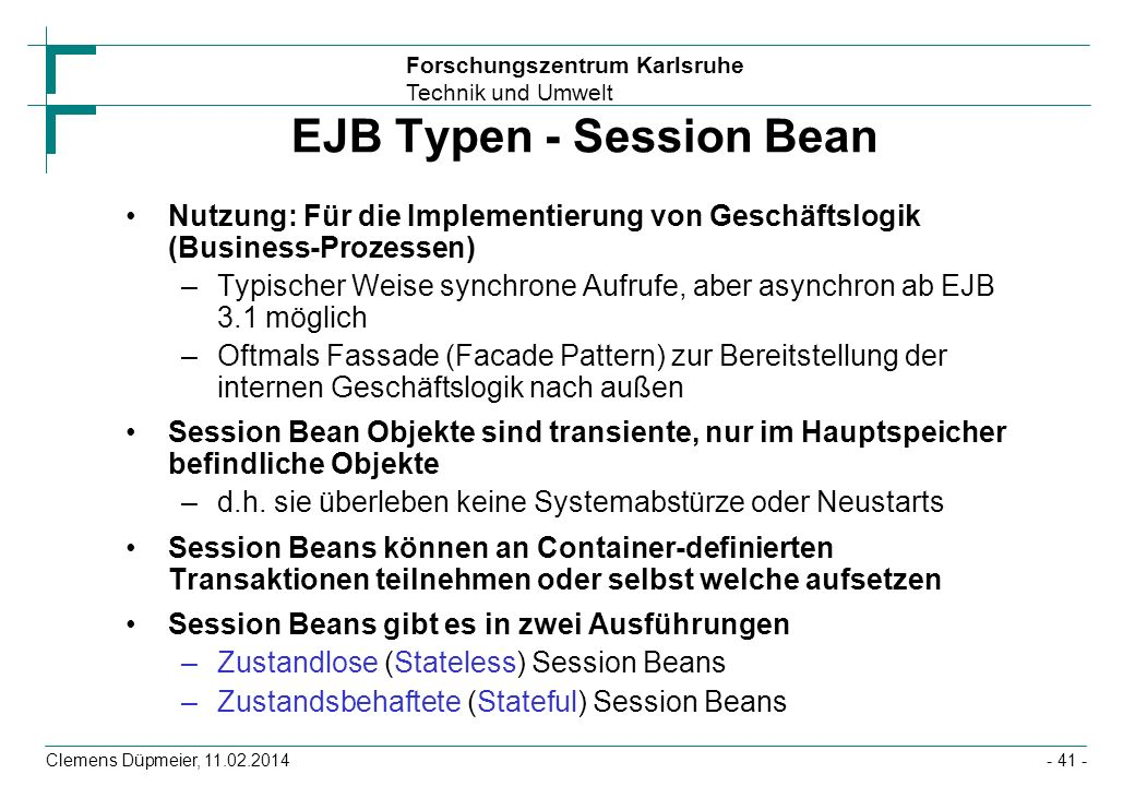 EJB Typen - Session Bean