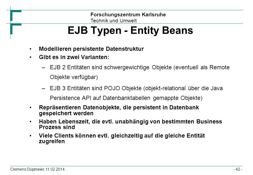 EJB Typen - Entity Beans