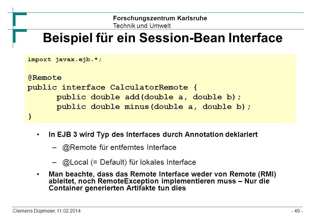 Beispiel für ein Session-Bean Interface