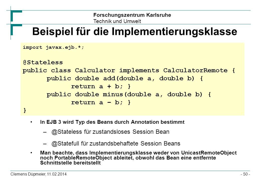 Beispiel für die Implementierungsklasse
