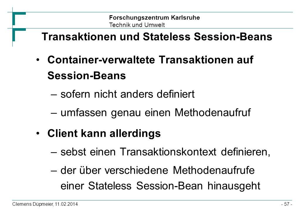 Transaktionen und Stateless Session-Beans