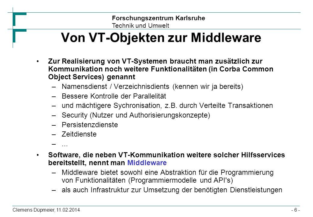 Von VT-Objekten zur Middleware