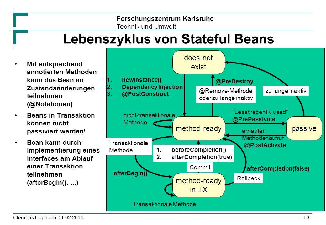 Lebenszyklus von Stateful Beans