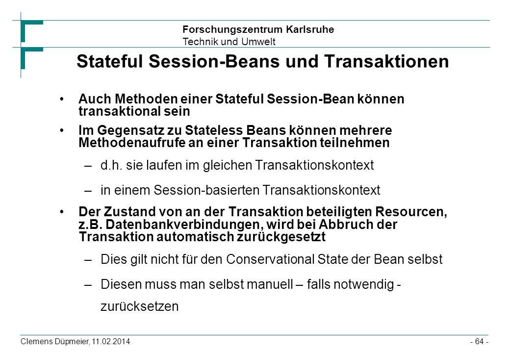 Stateful Session-Beans und Transaktionen