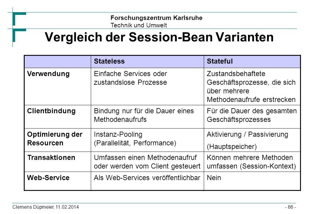 Vergleich der Session-Bean Varianten