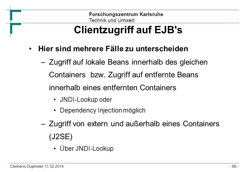 Clientzugriff auf EJB s