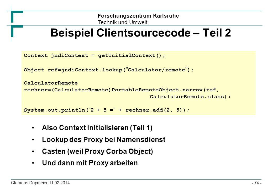 Beispiel Clientsourcecode – Teil 2