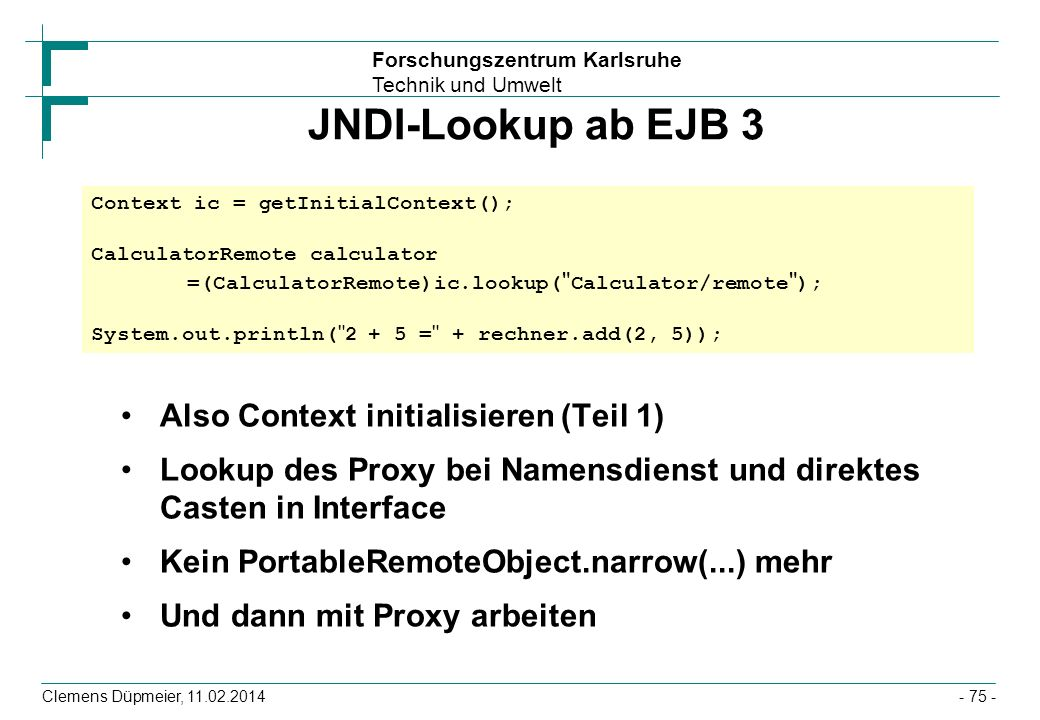 JNDI-Lookup ab EJB 3 Also Context initialisieren (Teil 1)