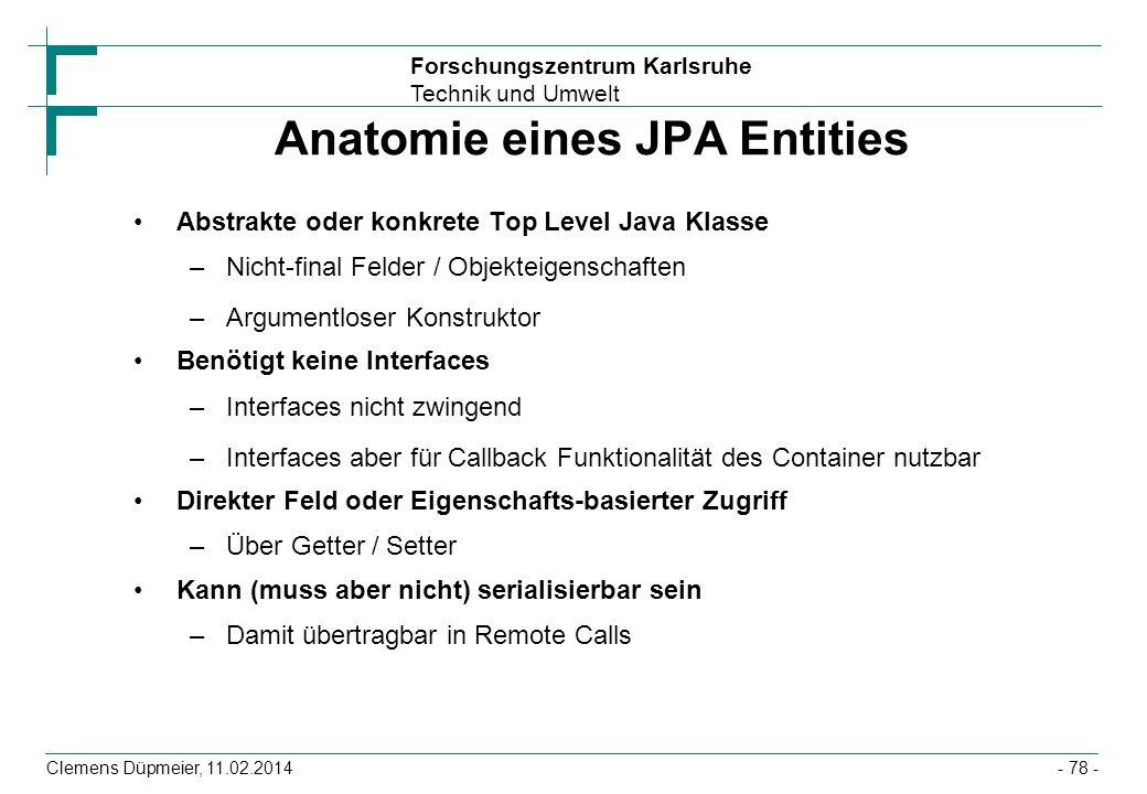 Anatomie eines JPA Entities