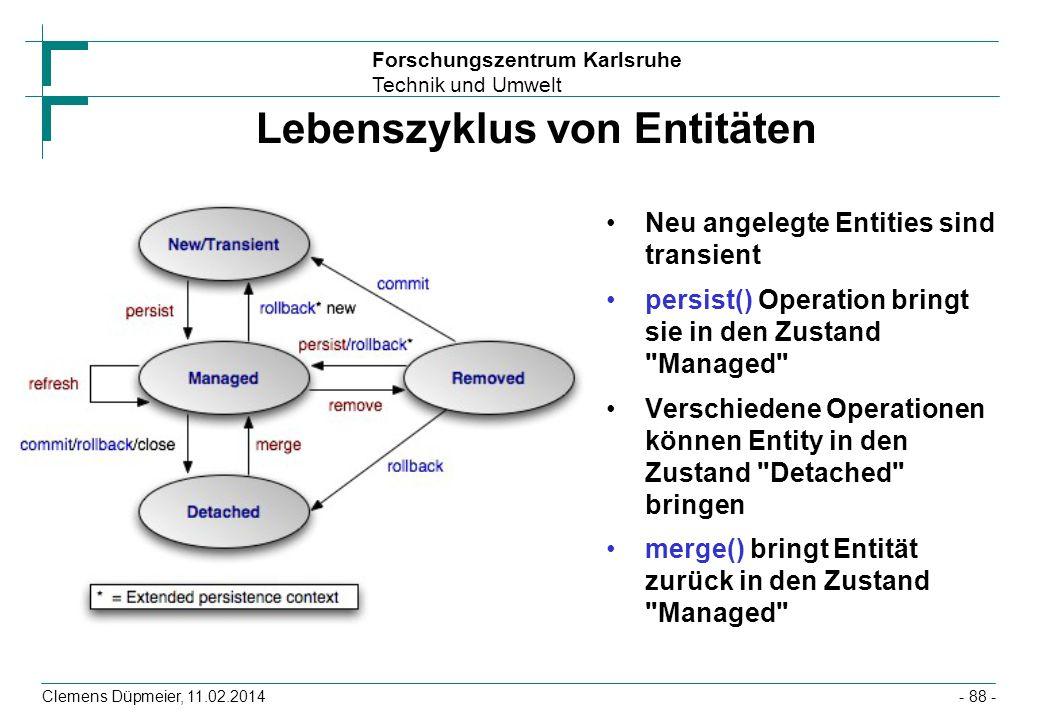 Lebenszyklus von Entitäten