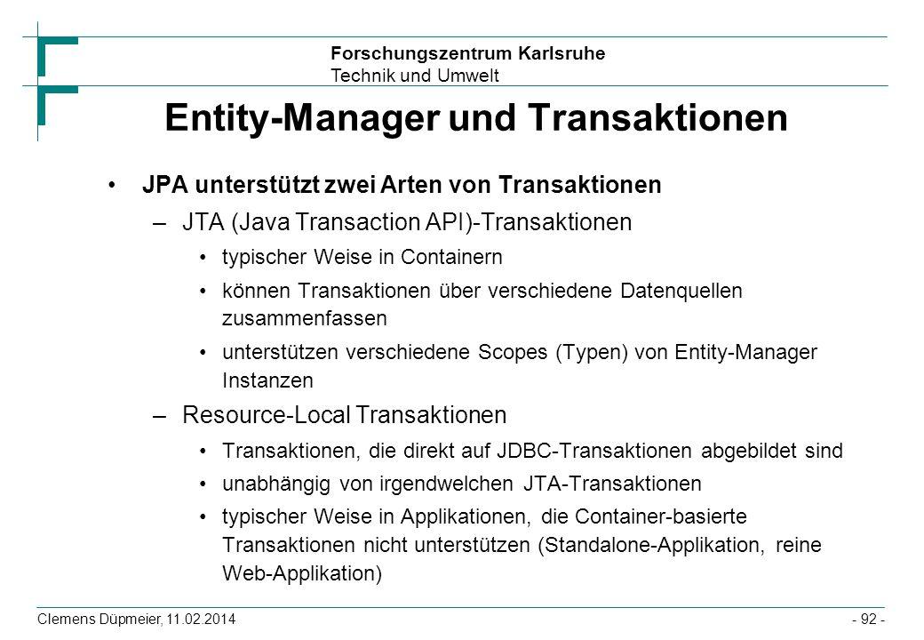 Entity-Manager und Transaktionen