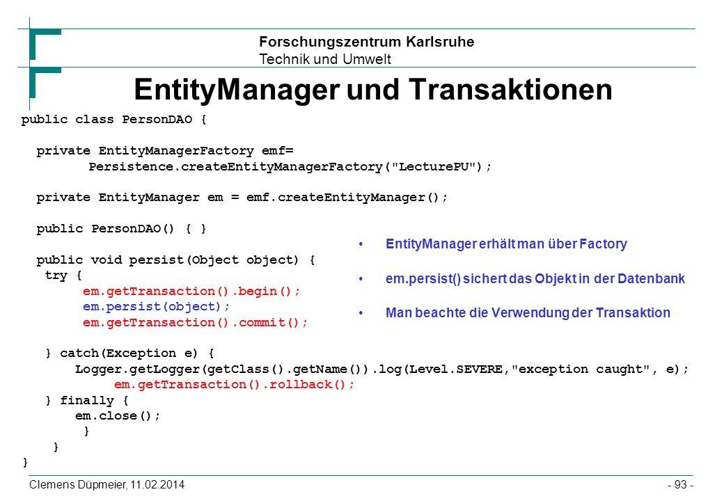EntityManager und Transaktionen