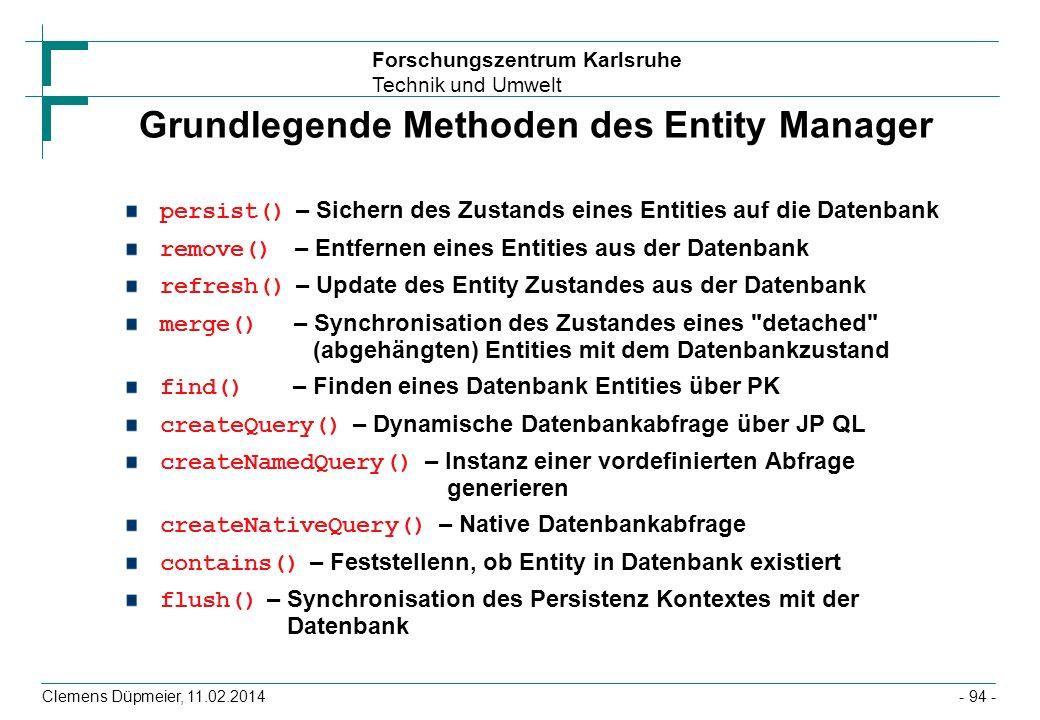 Grundlegende Methoden des Entity Manager