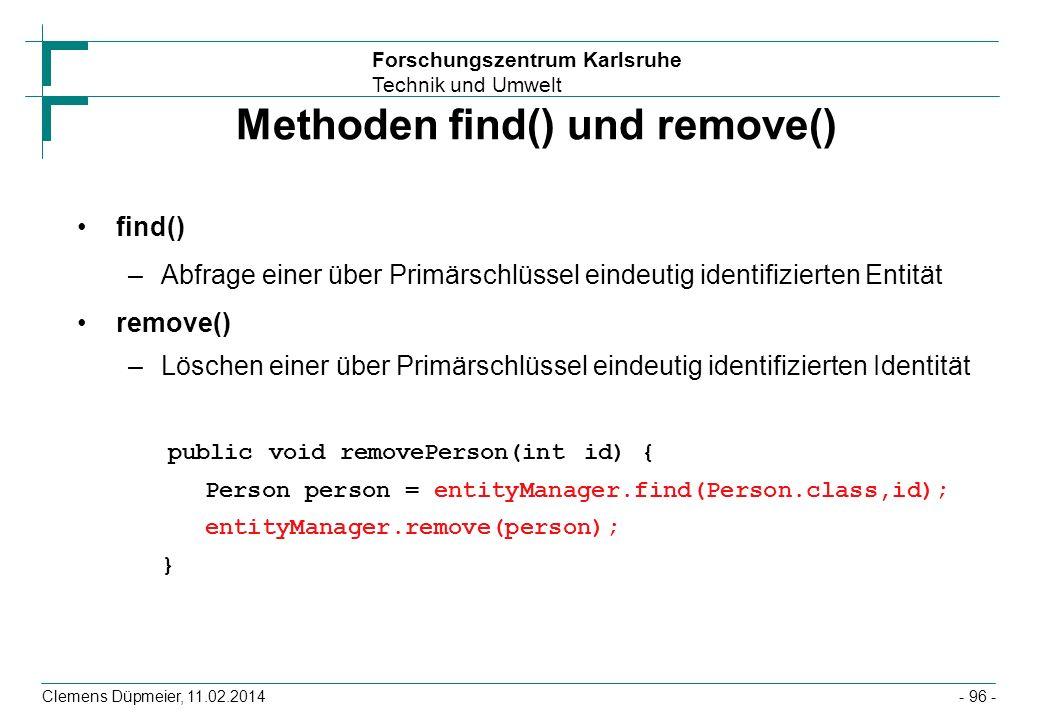 Methoden find() und remove()
