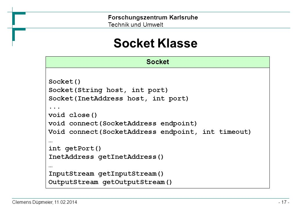Socket Klasse Socket Socket() Socket(String host, int port)