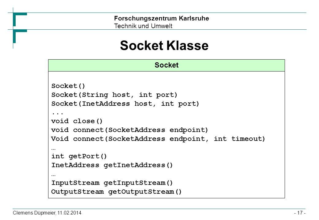Socket Klasse Socket Socket() Socket(String host, int port)