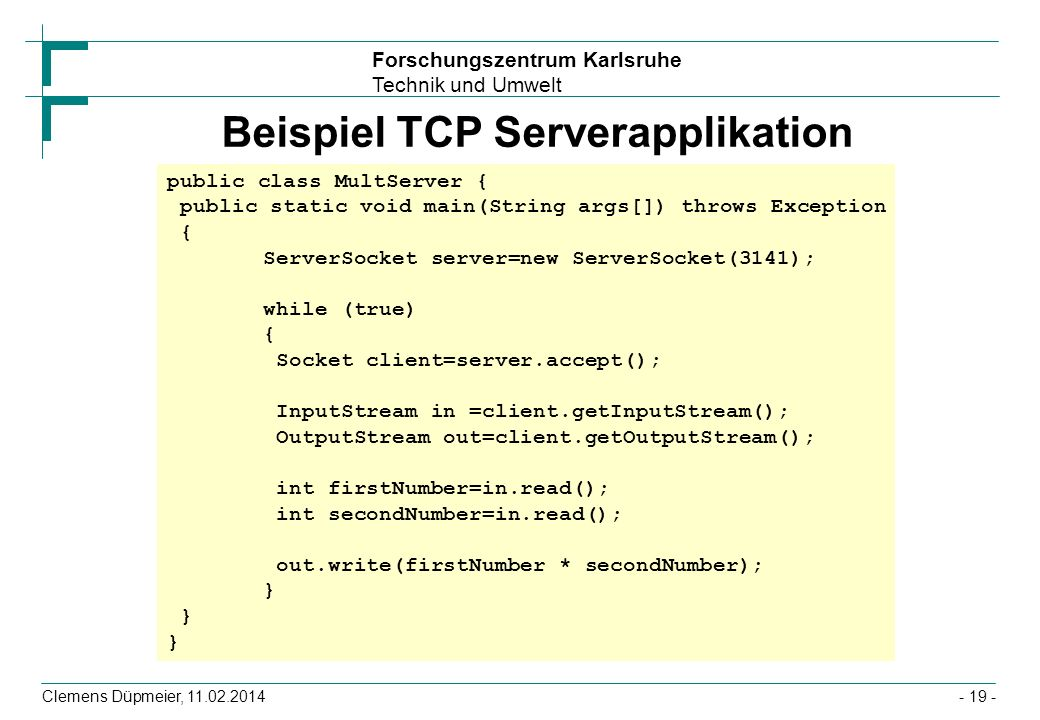 Beispiel TCP Serverapplikation