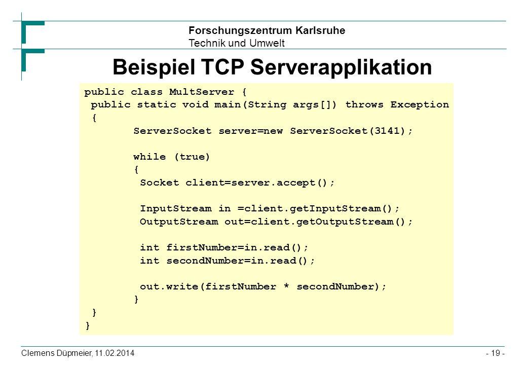 Beispiel TCP Serverapplikation