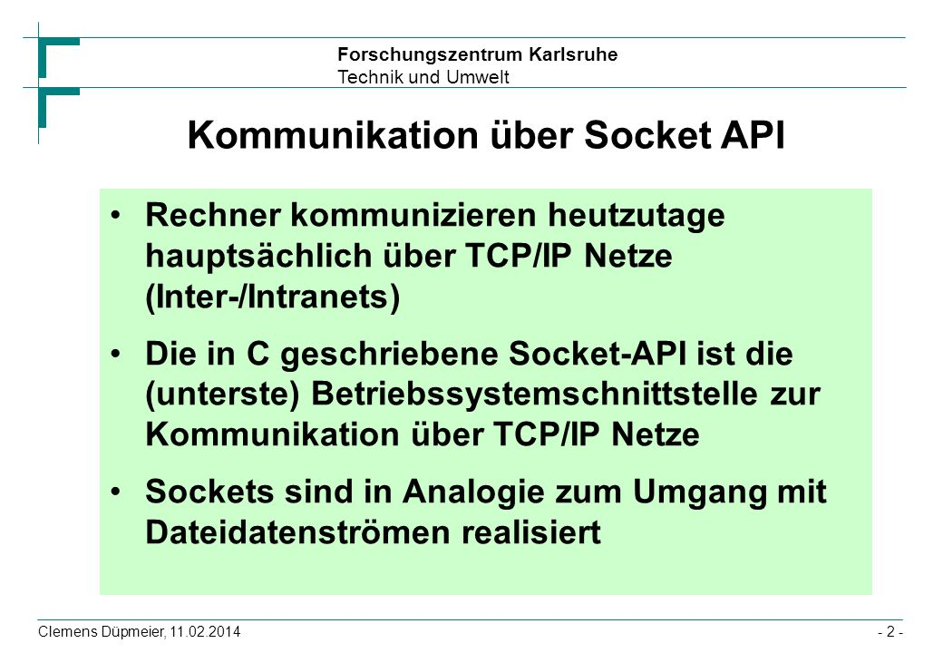 Kommunikation über Socket API