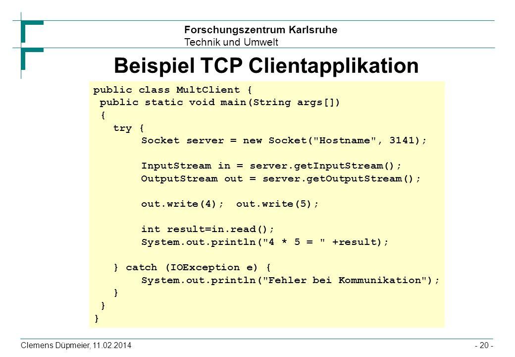 Beispiel TCP Clientapplikation