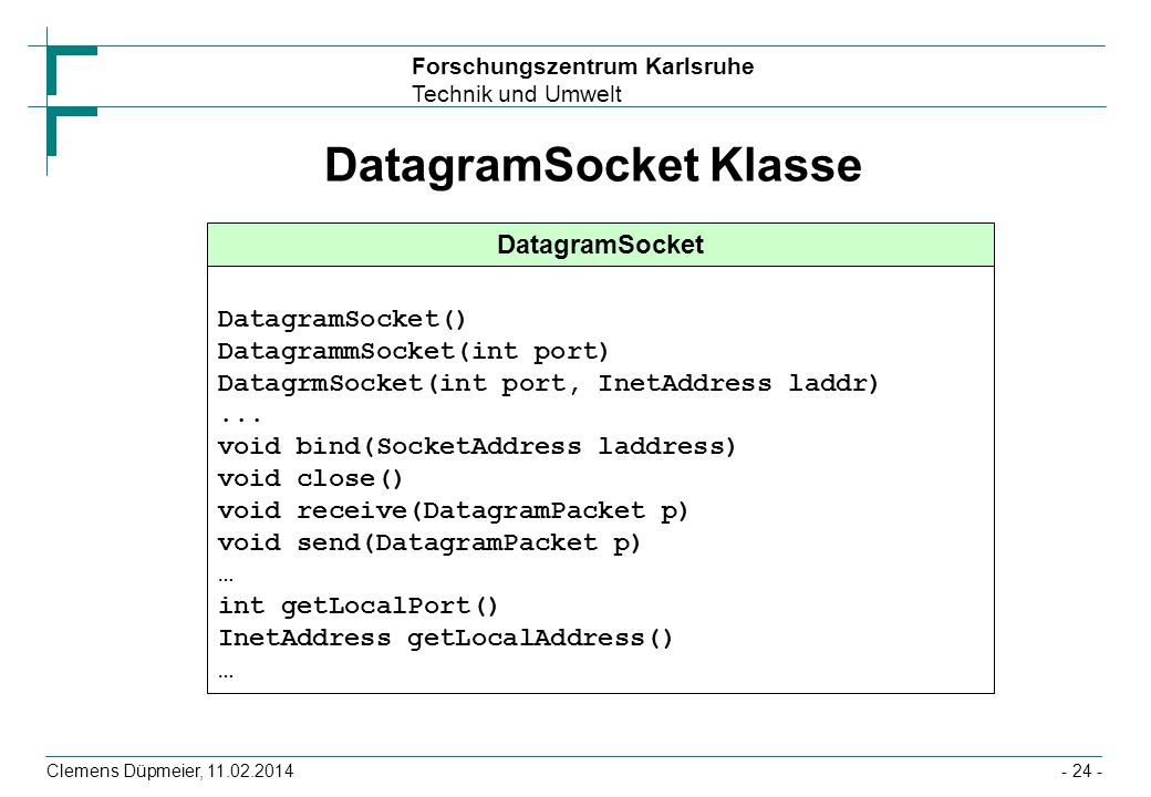 DatagramSocket Klasse