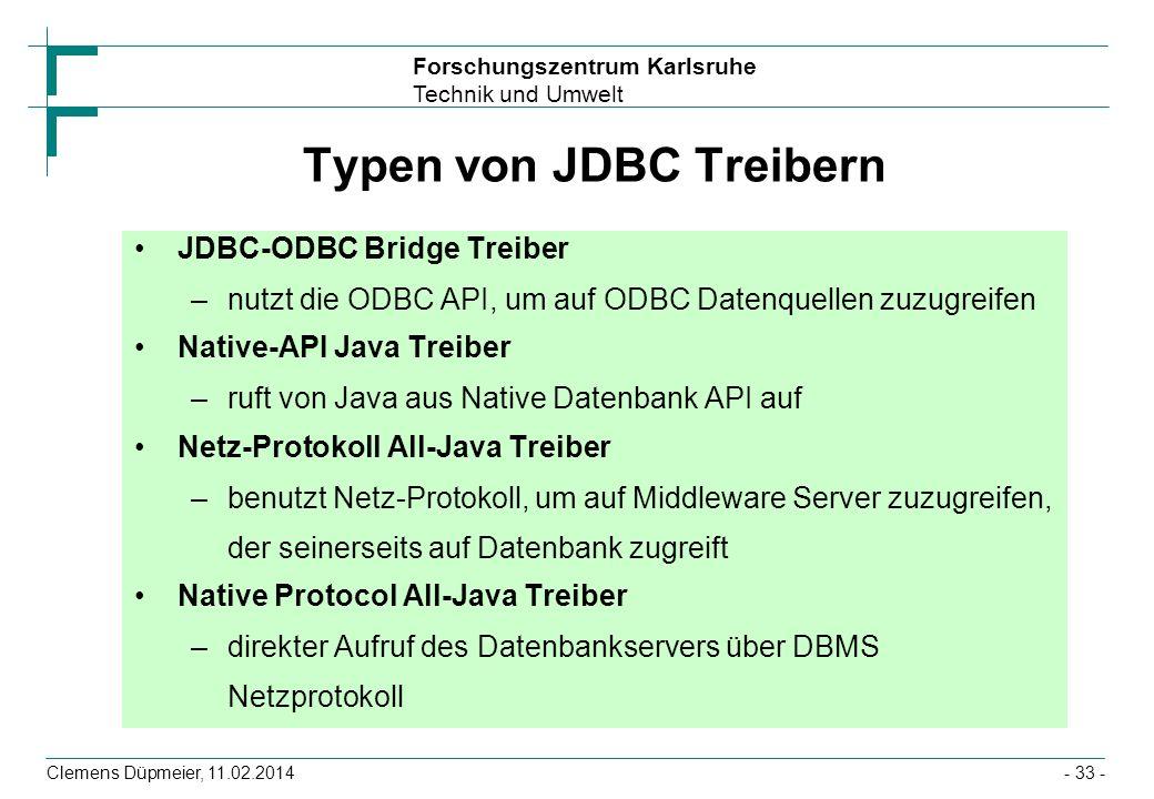 Typen von JDBC Treibern