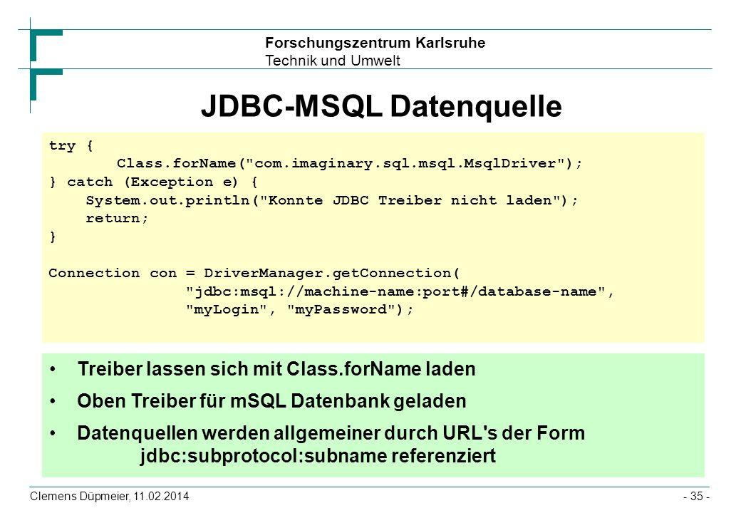 JDBC-MSQL Datenquelle