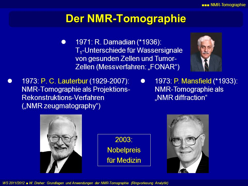 Der NMR-Tomographie 1971: R. Damadian (*1936):