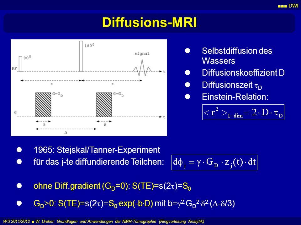 Diffusions-MRI Selbstdiffusion des Wassers Diffusionskoeffizient D