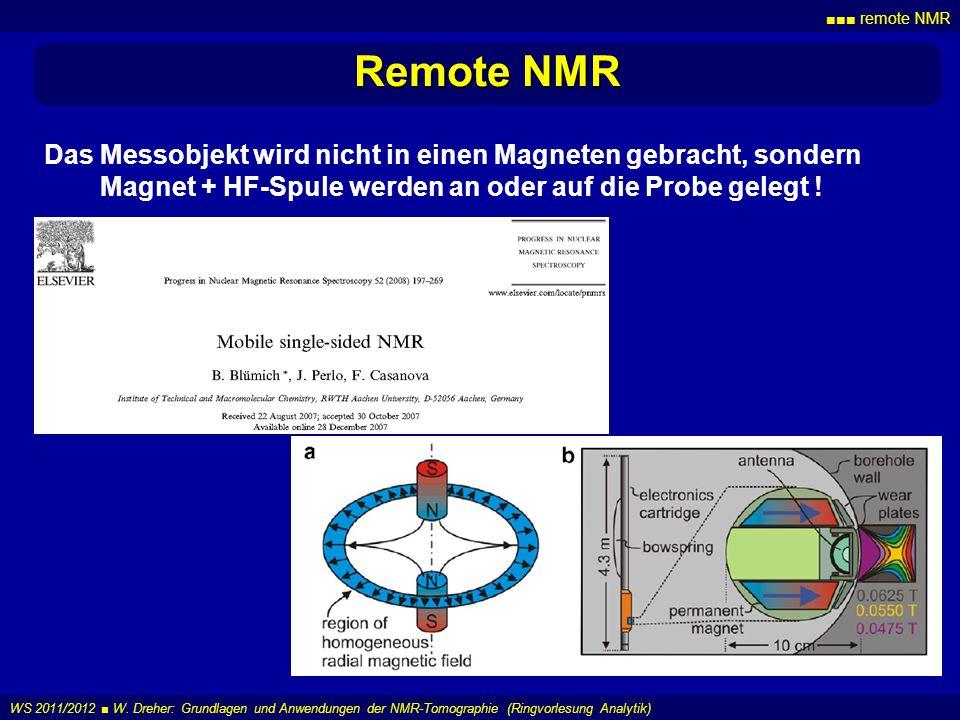 ■■■ remote NMR Remote NMR. Das Messobjekt wird nicht in einen Magneten gebracht, sondern Magnet + HF-Spule werden an oder auf die Probe gelegt !