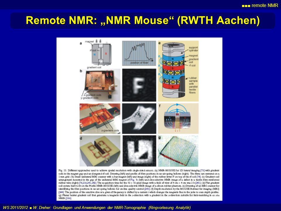 "Remote NMR: ""NMR Mouse (RWTH Aachen)"