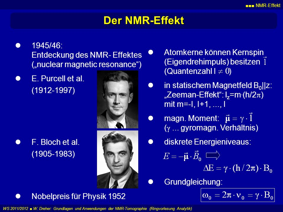 "■■■ NMR-Effekt Der NMR-Effekt. 1945/46: Entdeckung des NMR- Effektes (""nuclear magnetic resonance )"