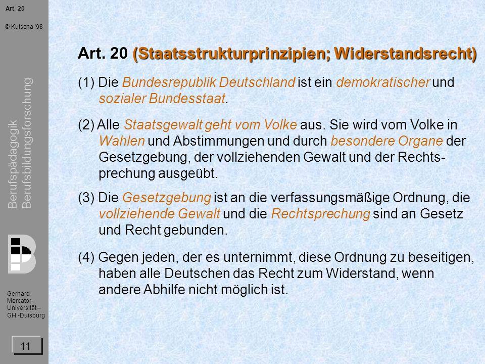Art. 20 (Staatsstrukturprinzipien; Widerstandsrecht)