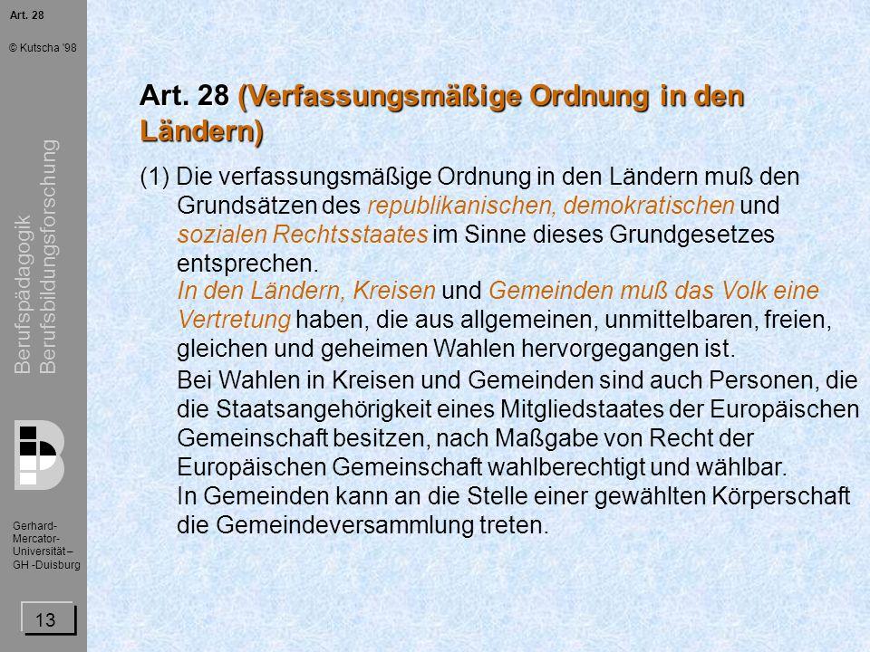 Art. 28 (Verfassungsmäßige Ordnung in den Ländern)