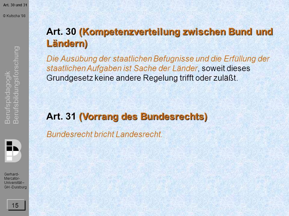Art. 30 (Kompetenzverteilung zwischen Bund und Ländern)