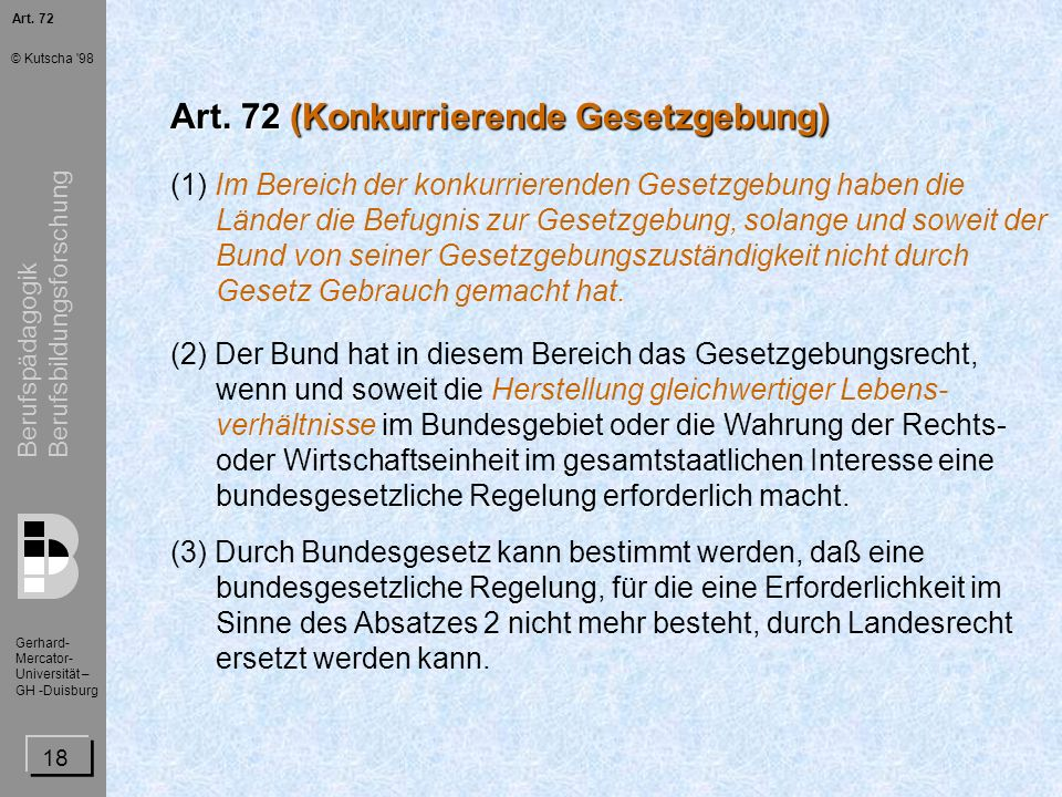 Art. 72 (Konkurrierende Gesetzgebung)
