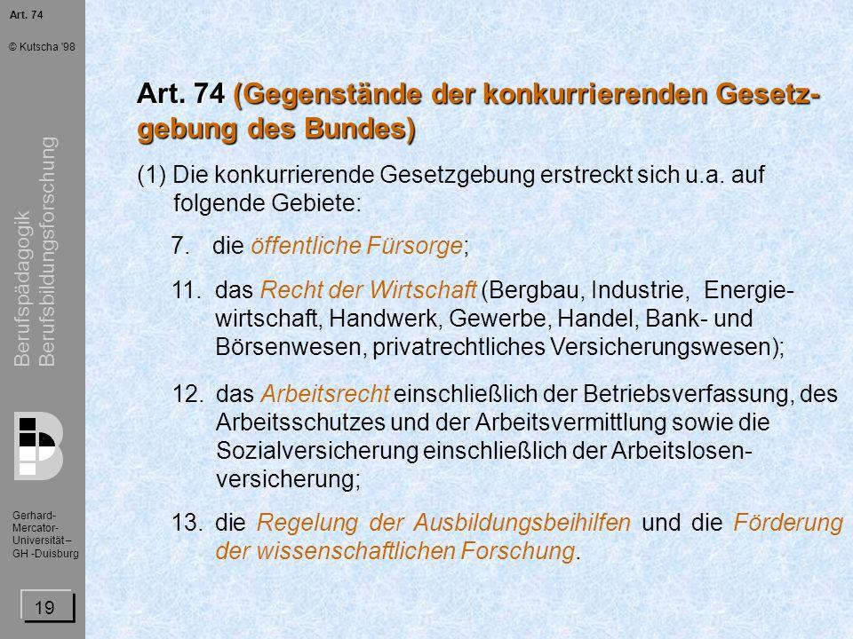 Art. 74 (Gegenstände der konkurrierenden Gesetz- gebung des Bundes)