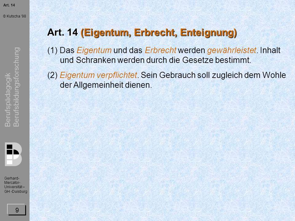 Art. 14 (Eigentum, Erbrecht, Enteignung)