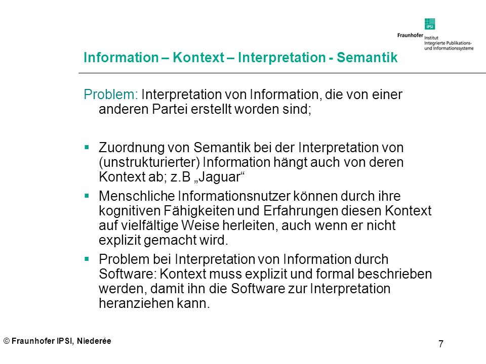Information – Kontext – Interpretation - Semantik